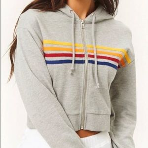 NWT Forever 21 Active Rainbow Striped Crop Hoodie